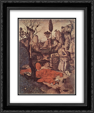 St. Jerome Penitent 20x24 Black or Gold Ornate Framed and Double Matted Art Print by Antonello da Messina