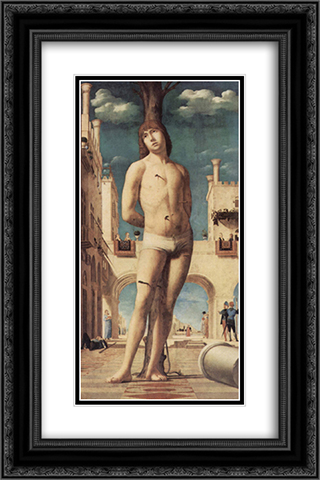 St. Sebastian 16x24 Black or Gold Ornate Framed and Double Matted Art Print by Antonello da Messina