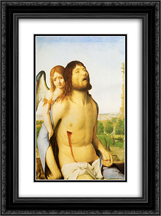 The Dead Christ Supported by an Angel 18x24 Black or Gold Ornate Framed and Double Matted Art Print by Antonello da Messina