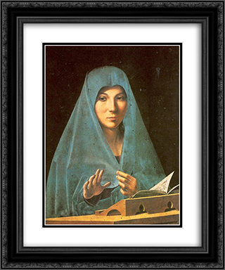 Virgin Annunciate 20x24 Black or Gold Ornate Framed and Double Matted Art Print by Antonello da Messina