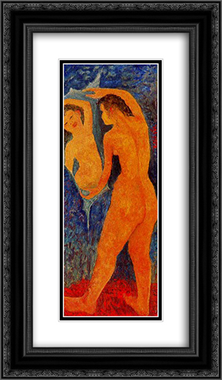 Desnudo femenino ante el espejo 14x24 Black or Gold Ornate Framed and Double Matted Art Print by Antonietta Raphael