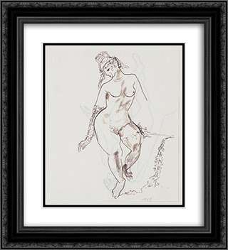 Figura femminile 20x22 Black or Gold Ornate Framed and Double Matted Art Print by Antonietta Raphael