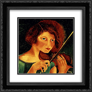 Self - portrait with violin 20x20 Black or Gold Ornate Framed and Double Matted Art Print by Antonietta Raphael
