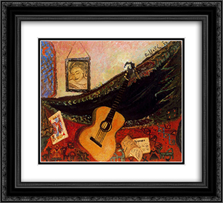 Still Life with Guitar 22x20 Black or Gold Ornate Framed and Double Matted Art Print by Antonietta Raphael