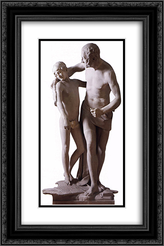 Daedalus and Icarus 16x24 Black or Gold Ornate Framed and Double Matted Art Print by Antonio Canova