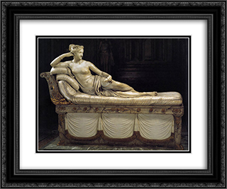 Paolina Borghese as Venus Victrix 24x20 Black or Gold Ornate Framed and Double Matted Art Print by Antonio Canova