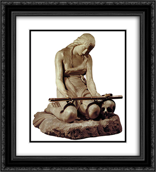 The Penitent Magdalene 20x22 Black or Gold Ornate Framed and Double Matted Art Print by Antonio Canova