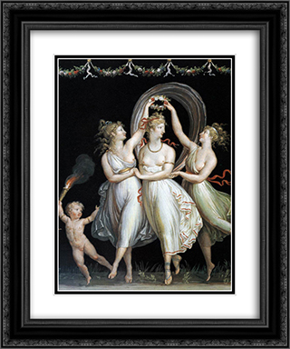The Three Graces Dancing 20x24 Black or Gold Ornate Framed and Double Matted Art Print by Antonio Canova