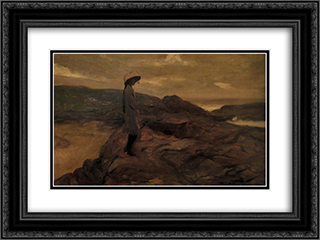 ContemplacÆ'o 24x18 Black or Gold Ornate Framed and Double Matted Art Print by Antonio Carneiro