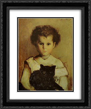 Menina com Gato (Maria) 20x24 Black or Gold Ornate Framed and Double Matted Art Print by Antonio Carneiro