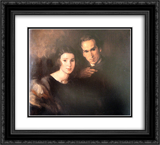 Retrato de Claudio e Maria 22x20 Black or Gold Ornate Framed and Double Matted Art Print by Antonio Carneiro