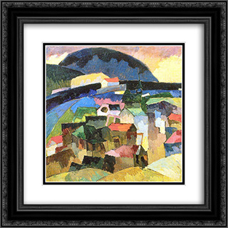 Gursuf 20x20 Black or Gold Ornate Framed and Double Matted Art Print by Aristarkh Lentulov