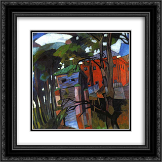 Landscape with a red house 20x20 Black or Gold Ornate Framed and Double Matted Art Print by Aristarkh Lentulov