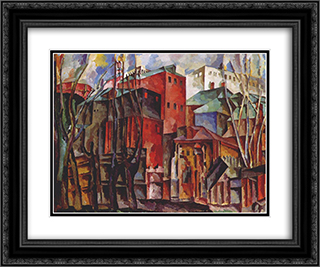 Landscape with dry trees and tall buildings 24x20 Black or Gold Ornate Framed and Double Matted Art Print by Aristarkh Lentulov