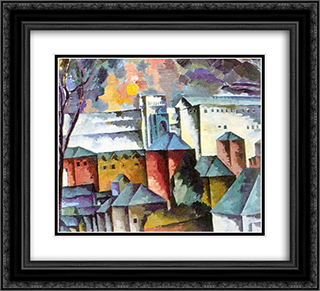 Landscape with the monastery walls 22x20 Black or Gold Ornate Framed and Double Matted Art Print by Aristarkh Lentulov