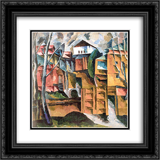 Landscape with white house and the yellow gate 20x20 Black or Gold Ornate Framed and Double Matted Art Print by Aristarkh Lentulov