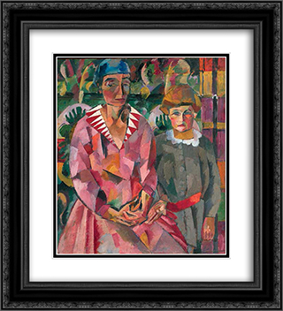 Portrait of Artist's Wife and Daughter 20x22 Black or Gold Ornate Framed and Double Matted Art Print by Aristarkh Lentulov