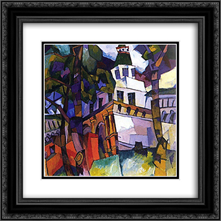 The gate with a tower. New Jerusalem 20x20 Black or Gold Ornate Framed and Double Matted Art Print by Aristarkh Lentulov