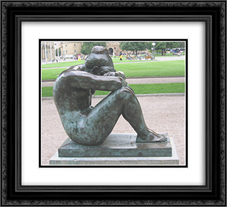La nuit 22x20 Black or Gold Ornate Framed and Double Matted Art Print by Aristide Maillol