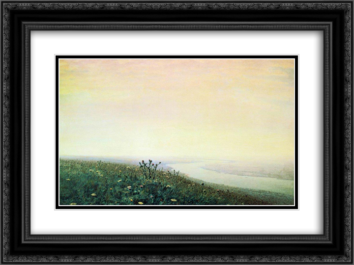 Dnieper in the morning 24x18 Black or Gold Ornate Framed and Double Matted Art Print by Arkhip Kuindzhi
