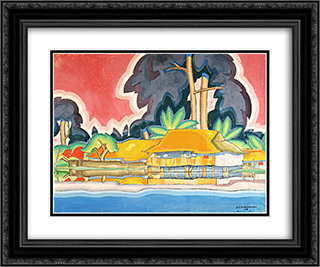 Ala Wai, Honolulu 24x20 Black or Gold Ornate Framed and Double Matted Art Print by Arman Manookian