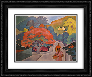 Coral Tree by Black Point, Honolulu, O'ahu 24x20 Black or Gold Ornate Framed and Double Matted Art Print by Arman Manookian