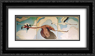 Flamingos in Flight 24x14 Black or Gold Ornate Framed and Double Matted Art Print by Arman Manookian
