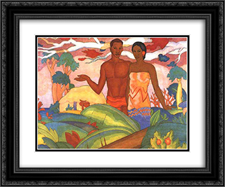 Hawaiian Boy and Girl 24x20 Black or Gold Ornate Framed and Double Matted Art Print by Arman Manookian