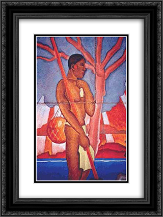 Hawaiian Figure 18x24 Black or Gold Ornate Framed and Double Matted Art Print by Arman Manookian