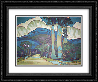 Hawaiian Landscape 24x20 Black or Gold Ornate Framed and Double Matted Art Print by Arman Manookian