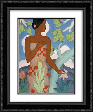 Hawaiian Woman 20x24 Black or Gold Ornate Framed and Double Matted Art Print by Arman Manookian
