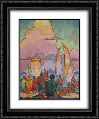 Hawaiians 20x24 Black or Gold Ornate Framed and Double Matted Art Print by Arman Manookian