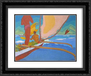 Men in an Outrigger Canoe Headed for Shore 24x20 Black or Gold Ornate Framed and Double Matted Art Print by Arman Manookian