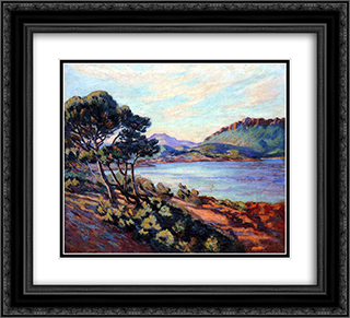 Agay Bay 22x20 Black or Gold Ornate Framed and Double Matted Art Print by Armand Guillaumin