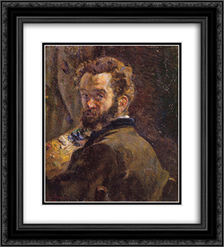 Autoportrait au chevalet 20x22 Black or Gold Ornate Framed and Double Matted Art Print by Armand Guillaumin
