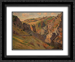 Caves Prunal near Pontgibaud (Auvergne) 24x20 Black or Gold Ornate Framed and Double Matted Art Print by Armand Guillaumin