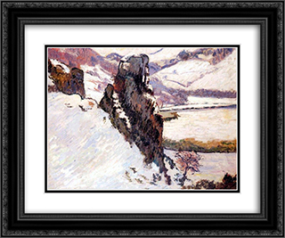 Creuse under the snow 24x20 Black or Gold Ornate Framed and Double Matted Art Print by Armand Guillaumin