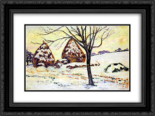 Effts de neige a Palaiseau 24x18 Black or Gold Ornate Framed and Double Matted Art Print by Armand Guillaumin