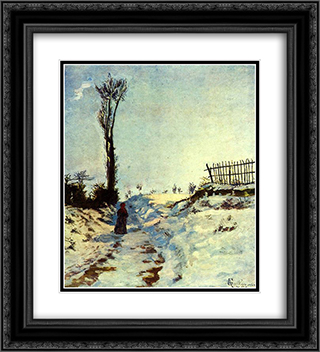 Hollow in the Snow 20x22 Black or Gold Ornate Framed and Double Matted Art Print by Armand Guillaumin