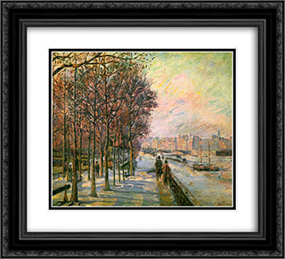 La Place Valhubert 22x20 Black or Gold Ornate Framed and Double Matted Art Print by Armand Guillaumin