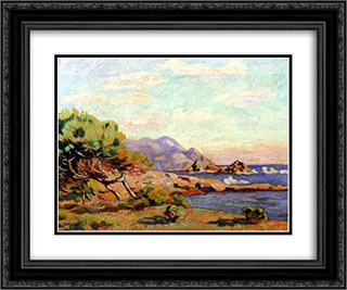 La Pointe du Lou Gaou 24x20 Black or Gold Ornate Framed and Double Matted Art Print by Armand Guillaumin