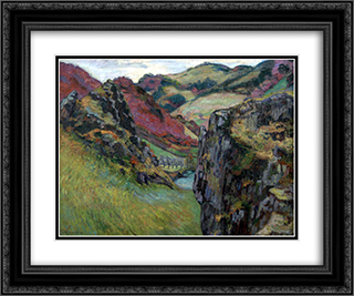 Landscape near Saint-Julien-des-Chazes 24x20 Black or Gold Ornate Framed and Double Matted Art Print by Armand Guillaumin