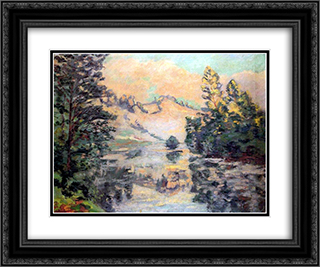 Landscape of Creuse 24x20 Black or Gold Ornate Framed and Double Matted Art Print by Armand Guillaumin
