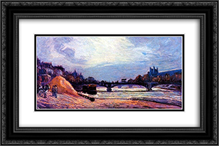Le Pont des Arts 24x16 Black or Gold Ornate Framed and Double Matted Art Print by Armand Guillaumin