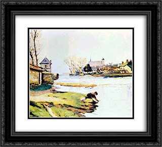Le reservoir a Poitiers 22x20 Black or Gold Ornate Framed and Double Matted Art Print by Armand Guillaumin