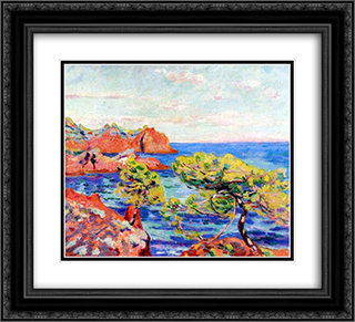 Le Trayas 22x20 Black or Gold Ornate Framed and Double Matted Art Print by Armand Guillaumin