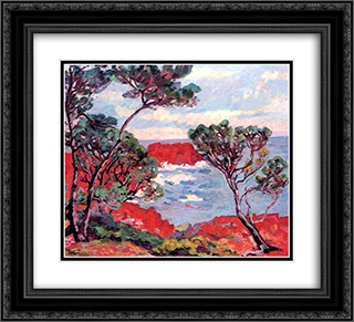 Les rochers rouges 22x20 Black or Gold Ornate Framed and Double Matted Art Print by Armand Guillaumin