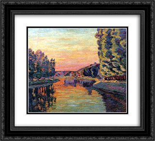 Moret 22x20 Black or Gold Ornate Framed and Double Matted Art Print by Armand Guillaumin