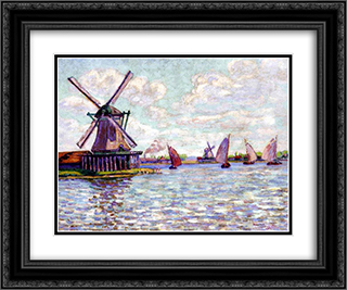 Moulins en Hollandee 24x20 Black or Gold Ornate Framed and Double Matted Art Print by Armand Guillaumin
