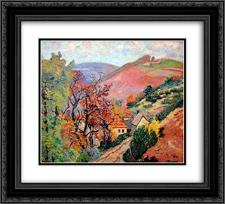 Mountain Landscape - Pontgibaud, village in Peschadoire 22x20 Black or Gold Ornate Framed and Double Matted Art Print by Armand Guillaumin